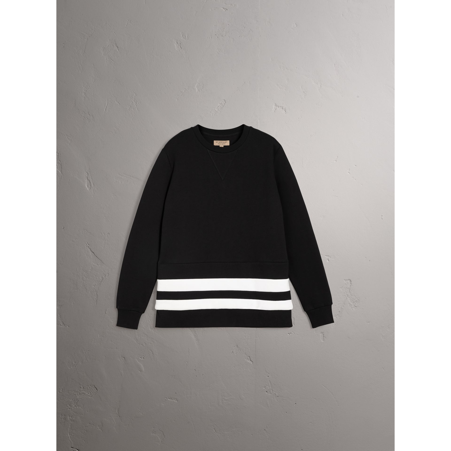 Striped Hem Cotton Blend Sweatshirt in Black - Men | Burberry - gallery image 3