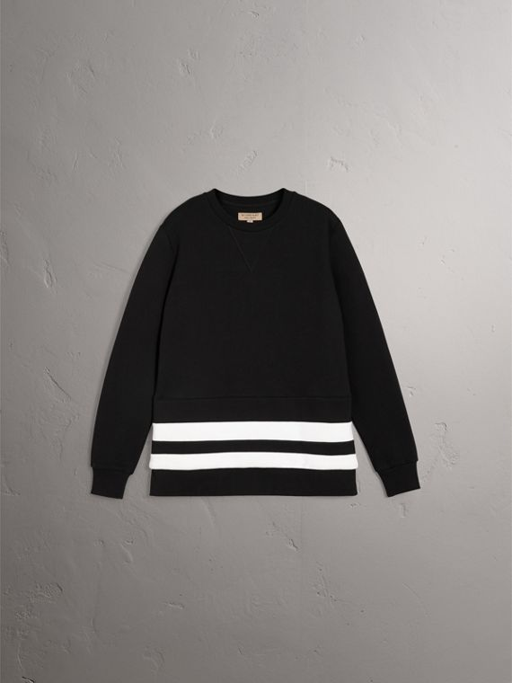 Striped Hem Cotton Blend Sweatshirt in Black - Men | Burberry Singapore - cell image 3