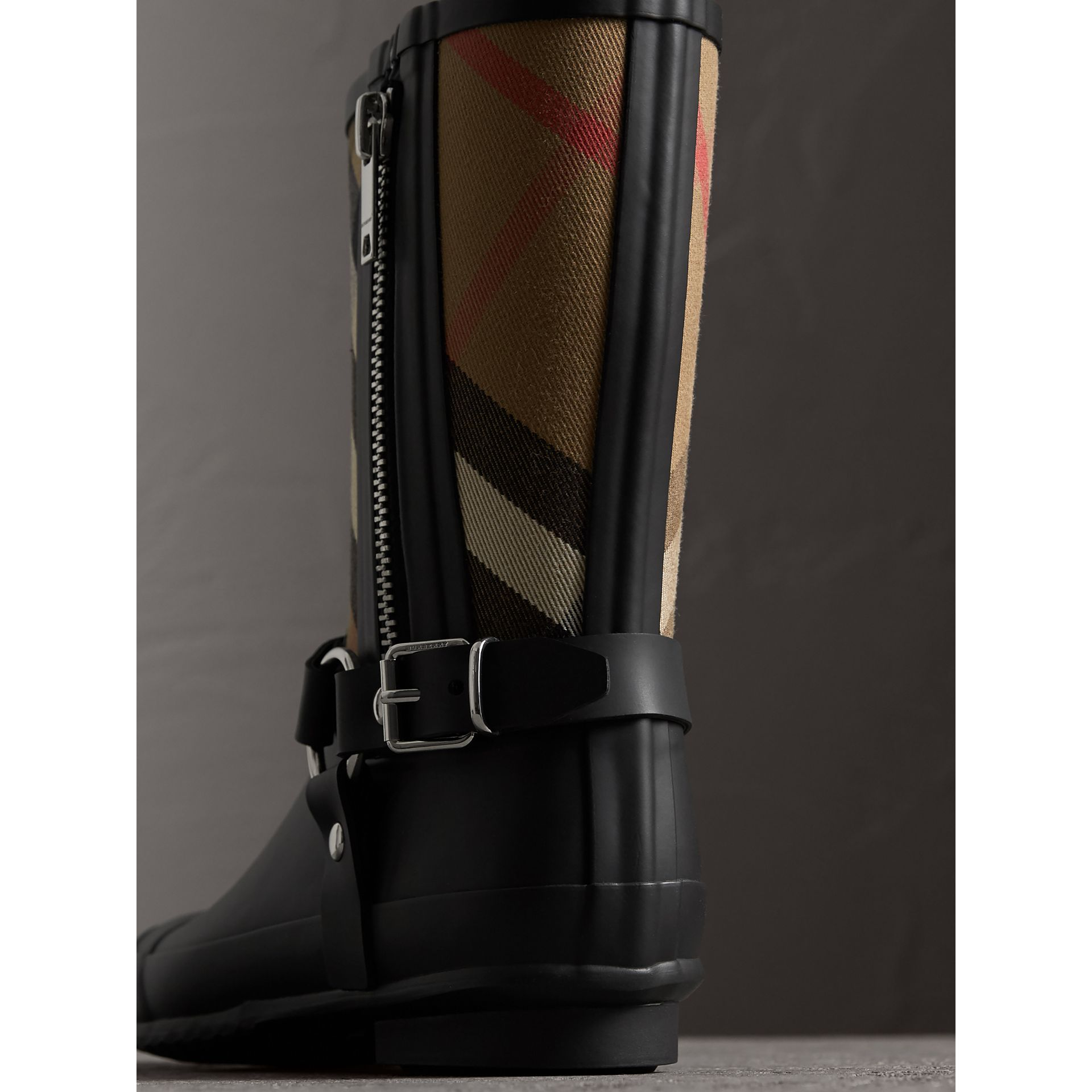 Buckle and Strap Detail Check Rain Boots in House Check/black - Women | Burberry - gallery image 2