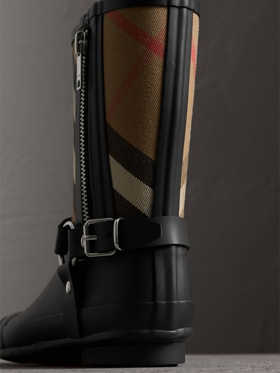 Buckle and Strap Detail Check Rain Boots in House Check/black - Women | Burberry - cell image 2