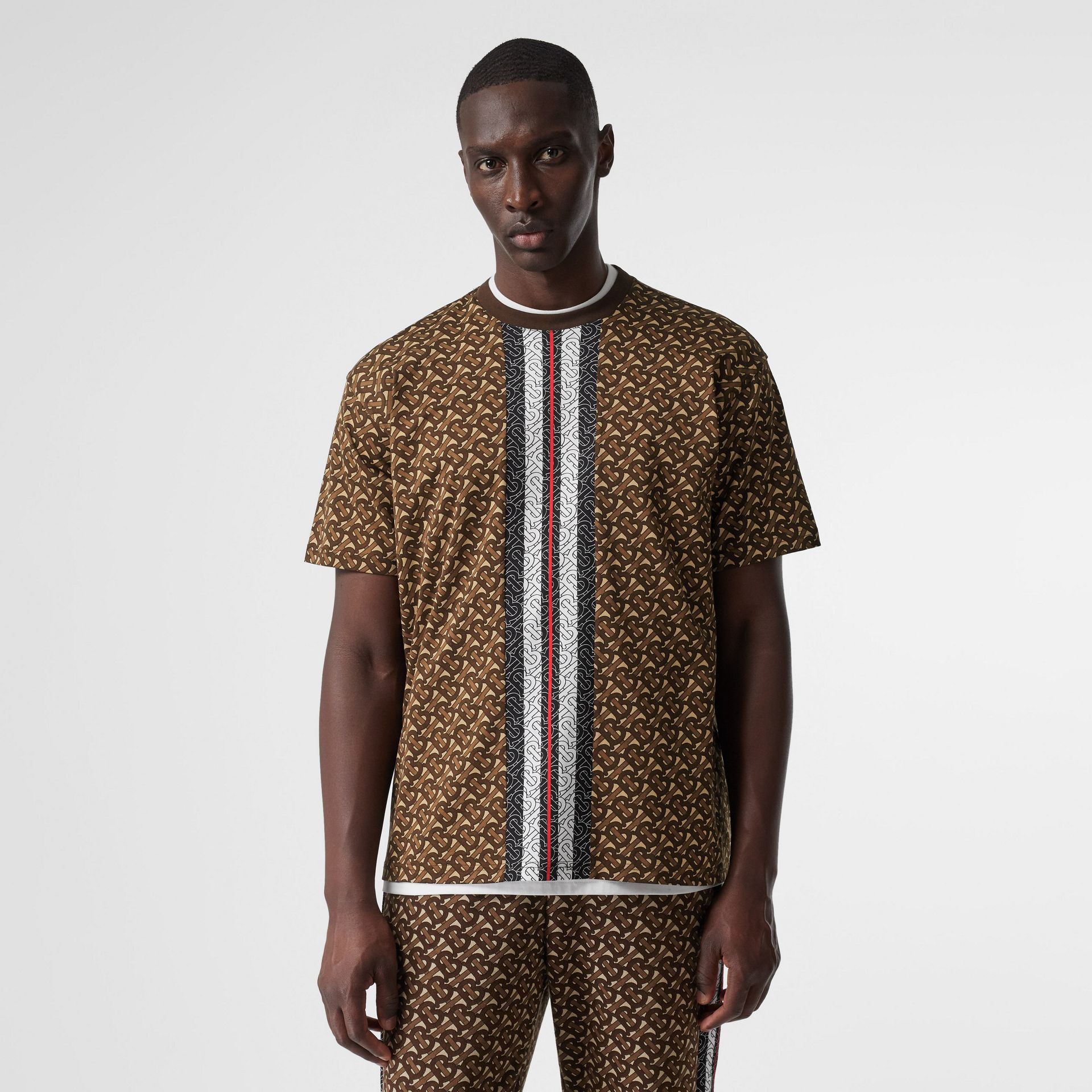 Monogram Stripe Print Cotton T-shirt in Bridle Brown - Men | Burberry - gallery image 4