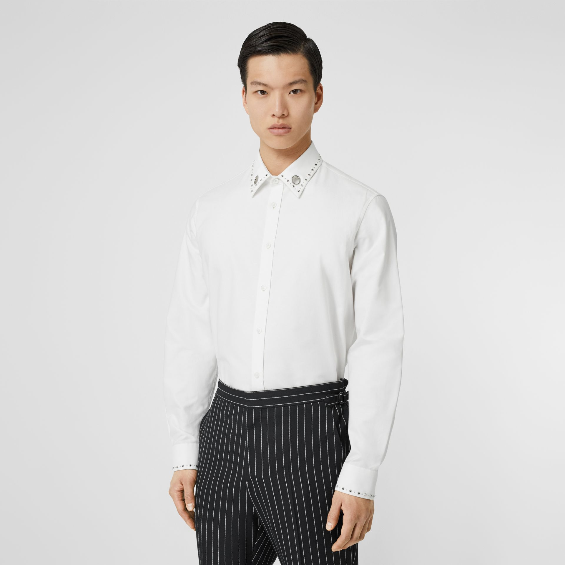 Classic Fit Stud Detail Cotton Oxford Shirt in White - Men | Burberry - gallery image 0