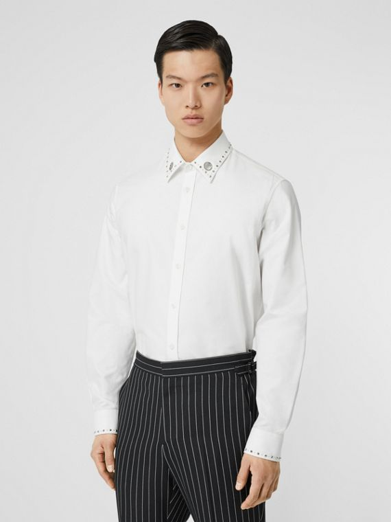 Classic Fit Stud Detail Cotton Oxford Shirt in White