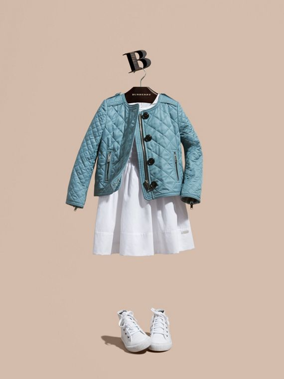 Collarless Diamond Quilted Jacket in Dusty Teal Blue