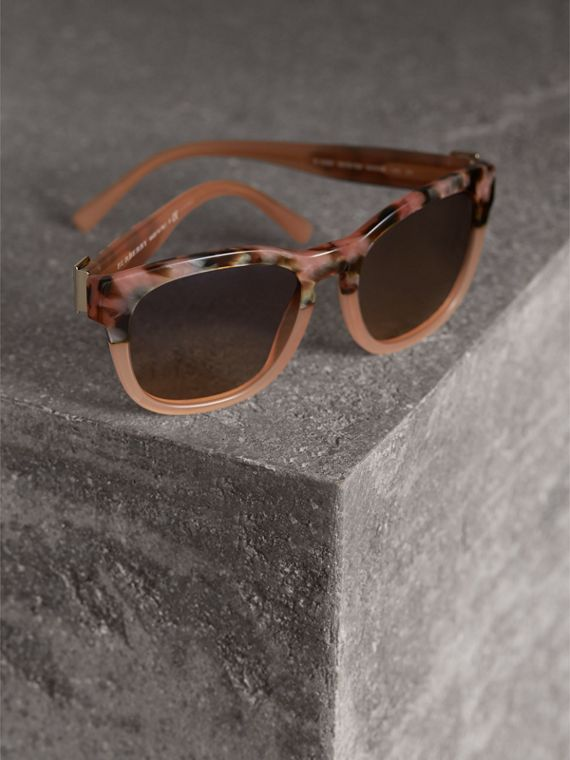 Buckle Detail Square Frame Sunglasses in Nude - Women | Burberry Hong Kong - cell image 2