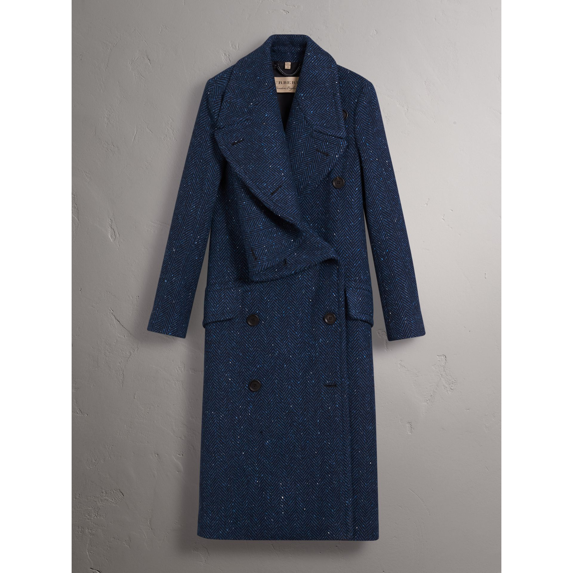Herringbone Wool Cashmere Tweed Asymmetric Coat in Navy - Women | Burberry - gallery image 4