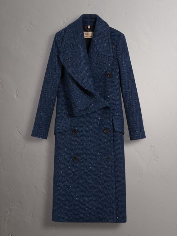 Herringbone Wool Cashmere Tweed Asymmetric Coat in Navy - Women | Burberry - cell image 3