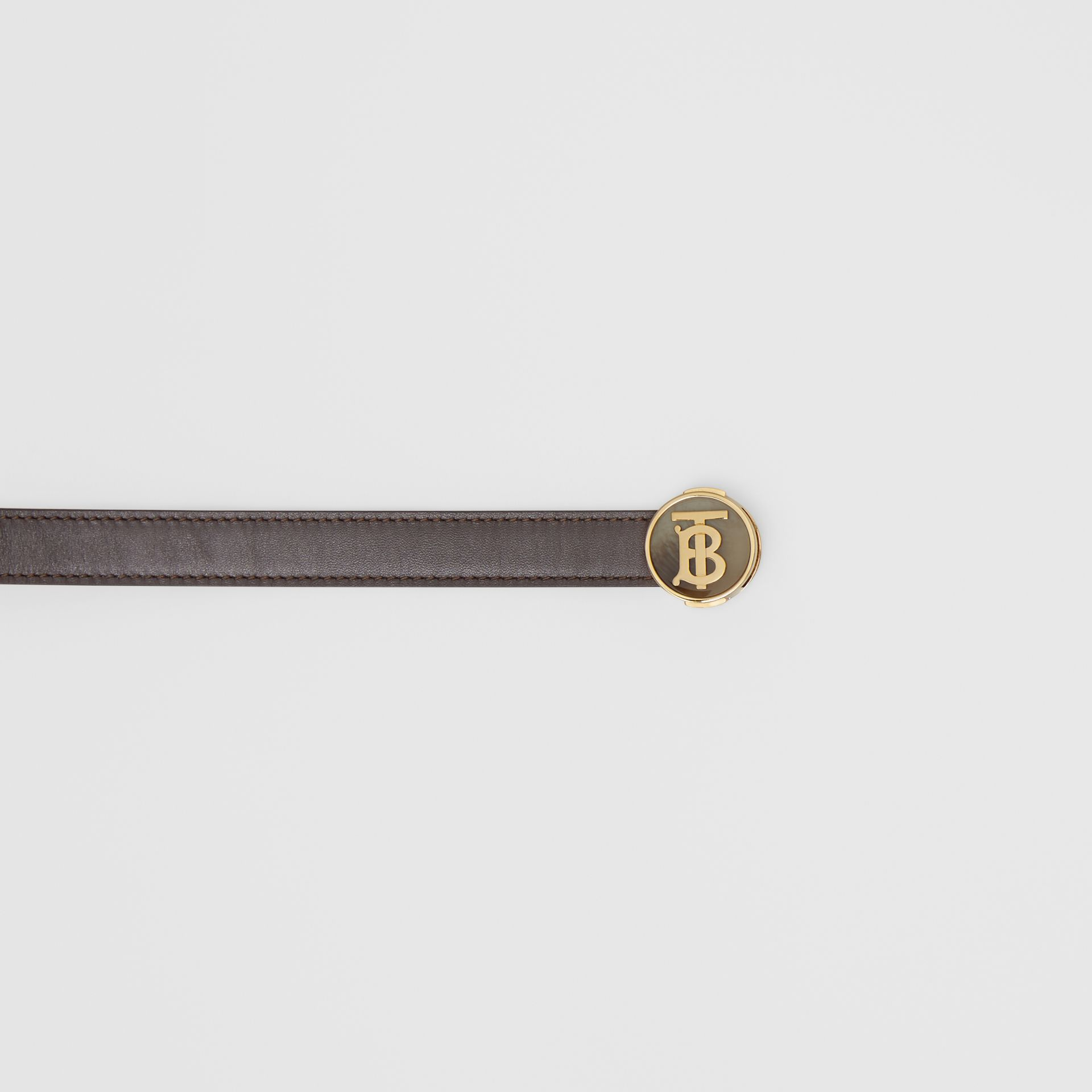 Monogram Motif Leather Belt in Deep Brown - Women | Burberry - gallery image 1