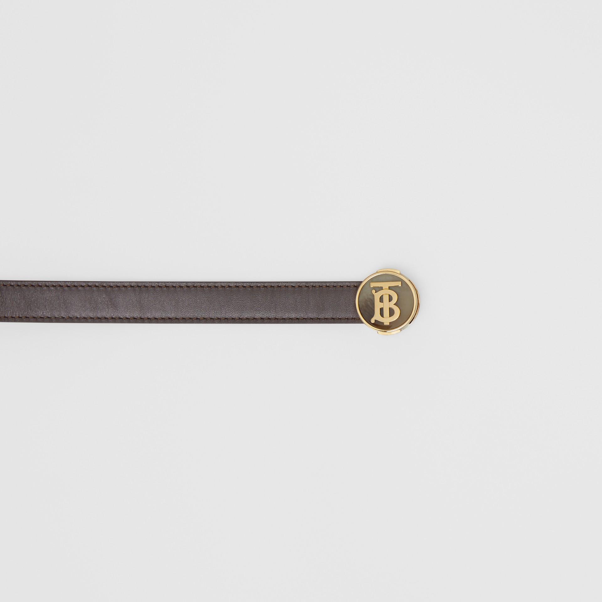 Monogram Motif Leather Belt in Deep Brown - Women | Burberry United Kingdom - gallery image 1