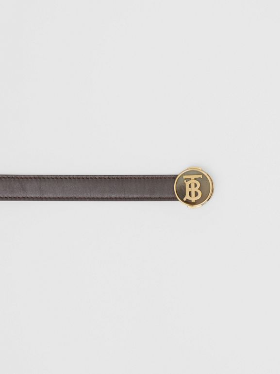 Monogram Motif Leather Belt in Deep Brown - Women | Burberry United Kingdom - cell image 1