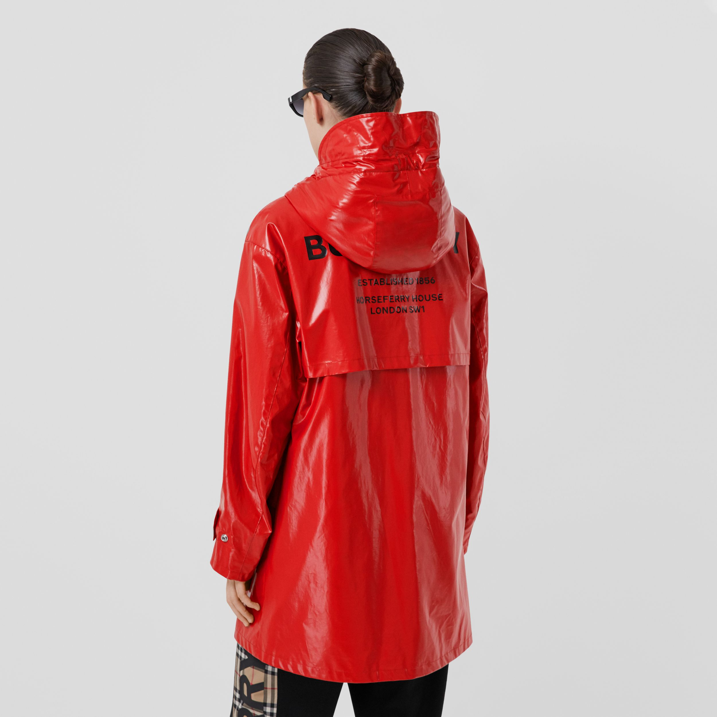 Horseferry Print Coated Jersey Parka in Bright Red - Women | Burberry - 3