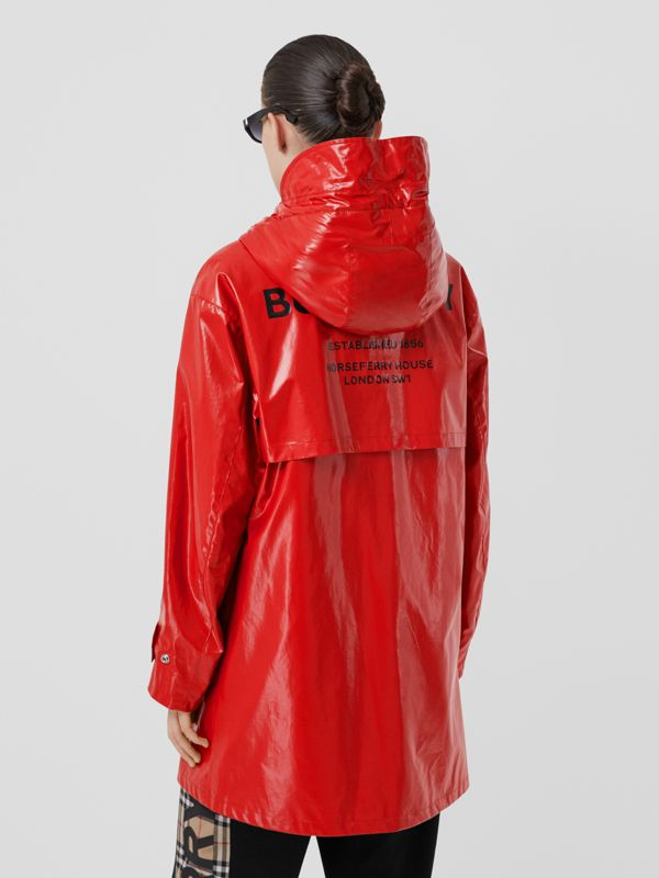 Horseferry Print Coated Jersey Parka in Bright Red - Women | Burberry - cell image 2