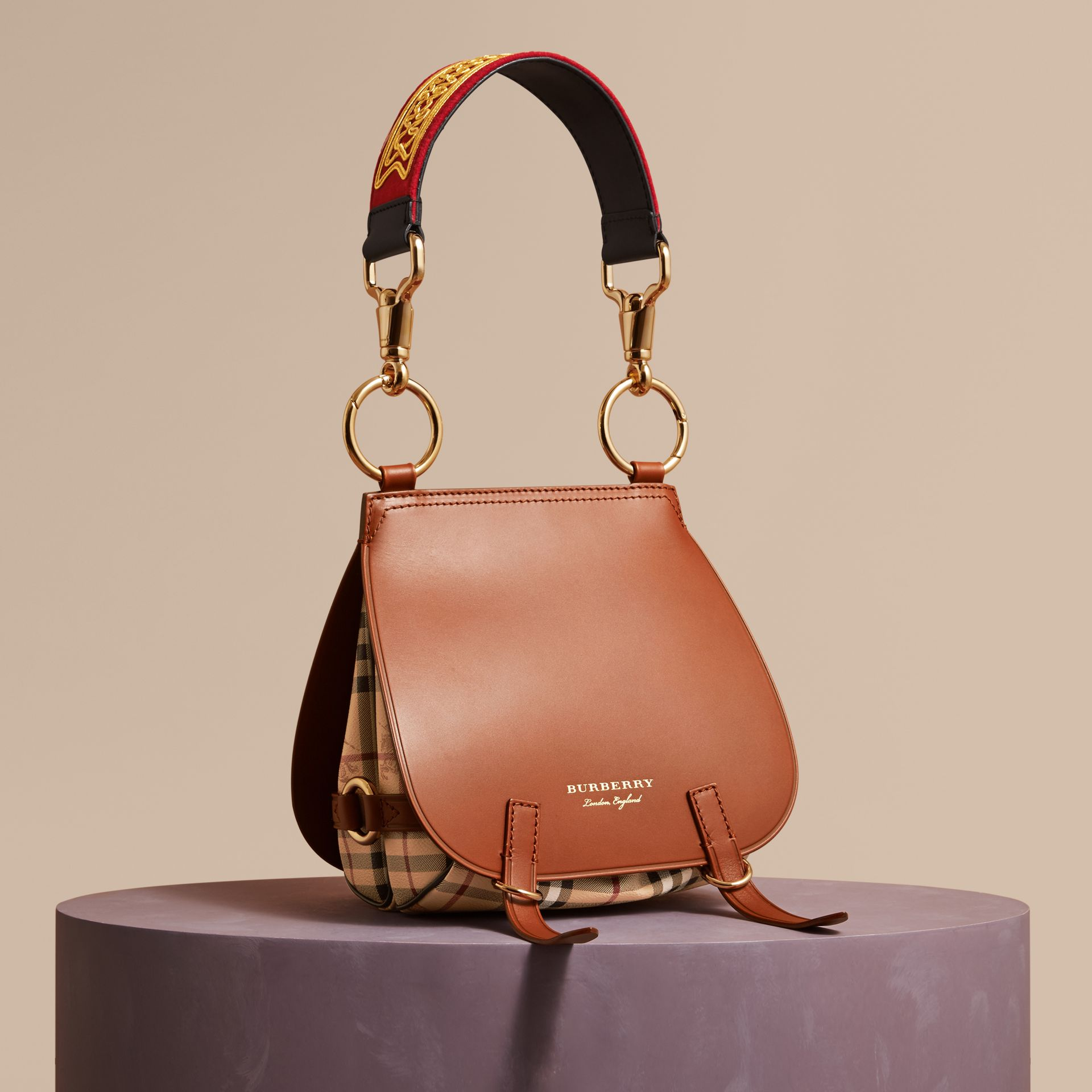 The Bridle Bag in Leather and Haymarket Check - Women | Burberry - gallery image 1
