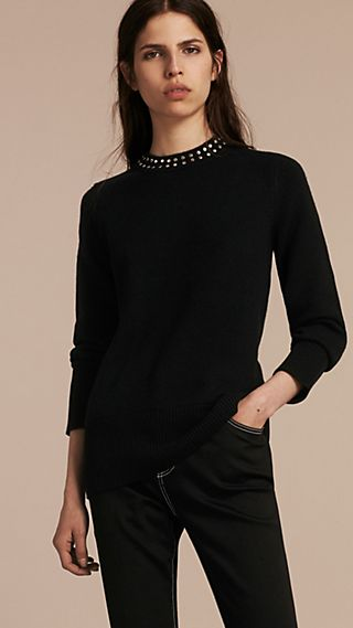 Studded Cashmere Cotton Sweater