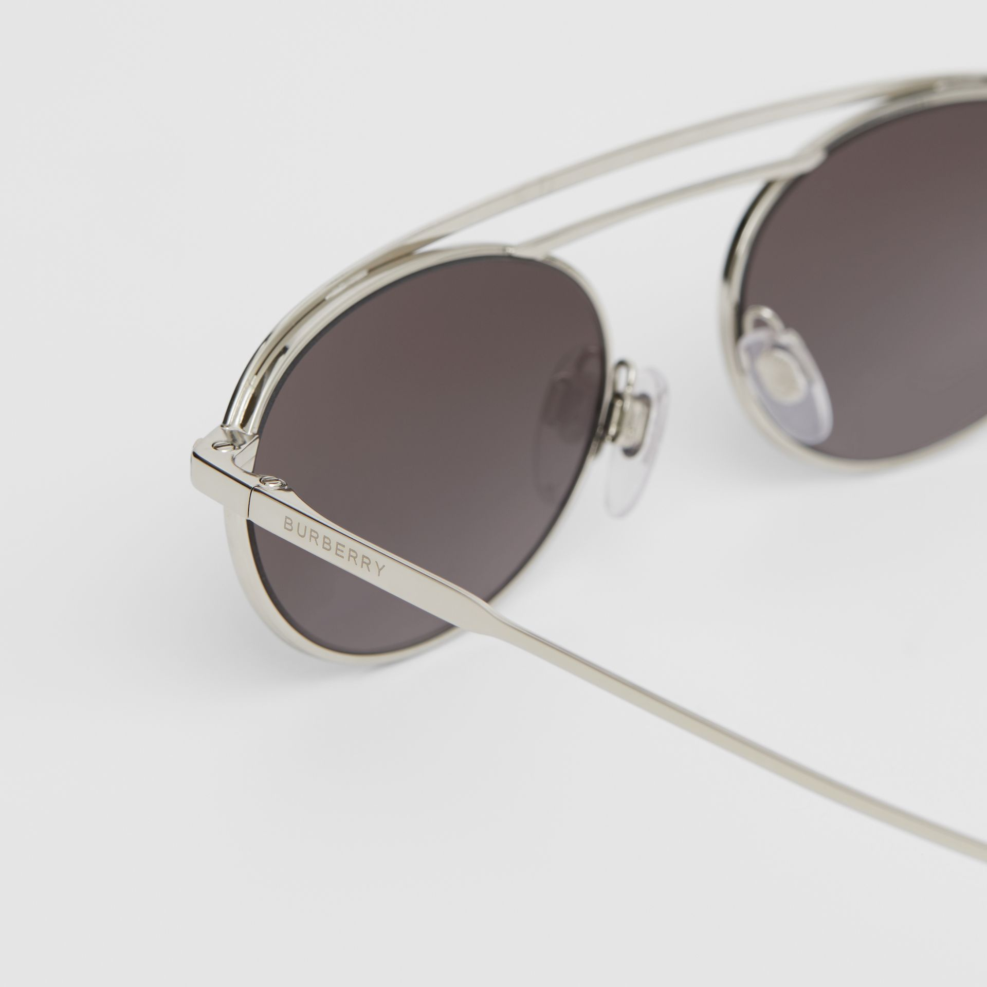 Oval Frame Sunglasses in Grey - Women | Burberry Australia - gallery image 1