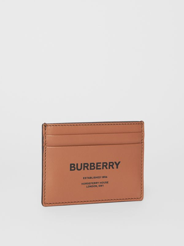 Horseferry Print Leather Card Case in Malt Brown - Men | Burberry - cell image 3