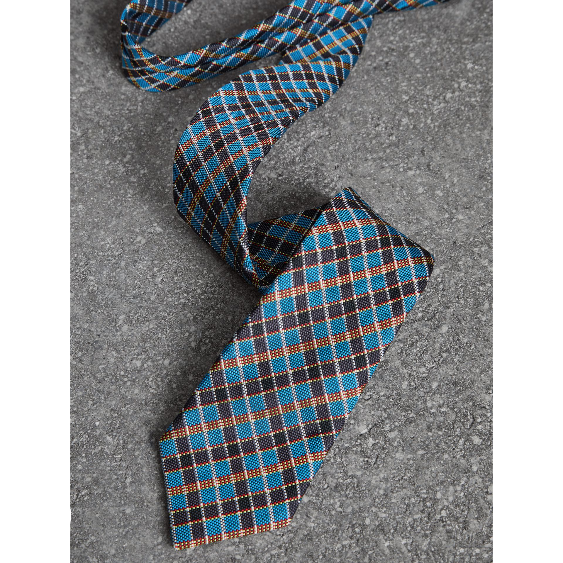 Slim Cut Check Silk Jacquard Tie in Cyan Blue - Men | Burberry United States - gallery image 1