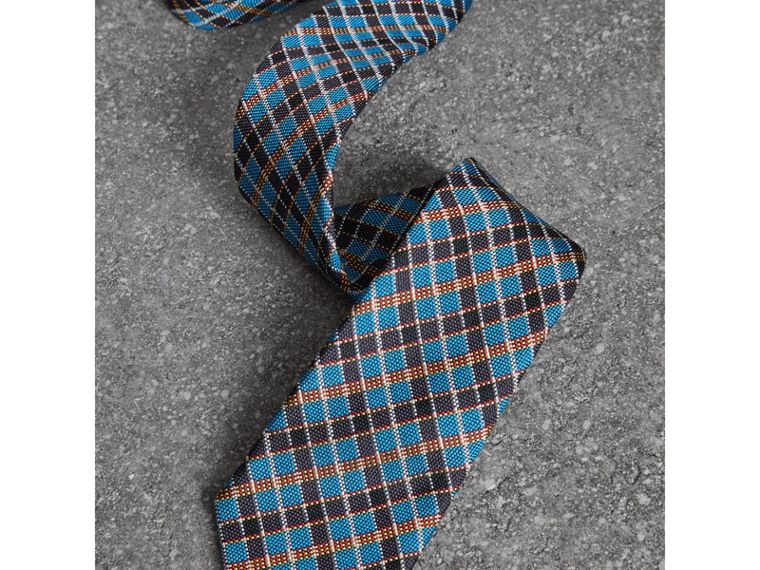 Slim Cut Check Silk Jacquard Tie in Cyan Blue - Men | Burberry - cell image 1