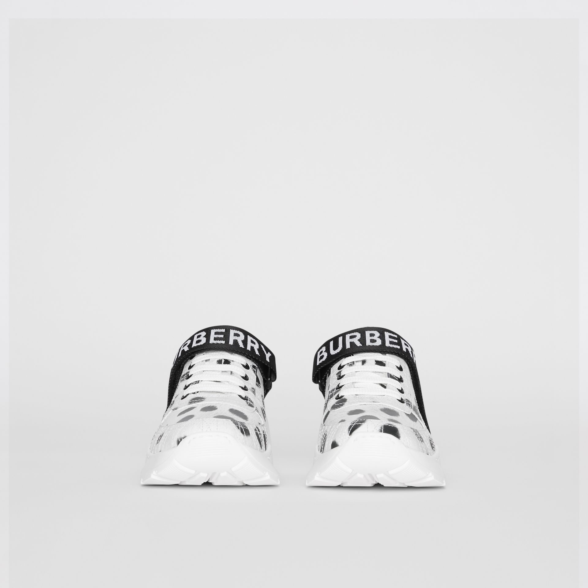 Animal Print Leather Sneakers in Off White - Women | Burberry - gallery image 3