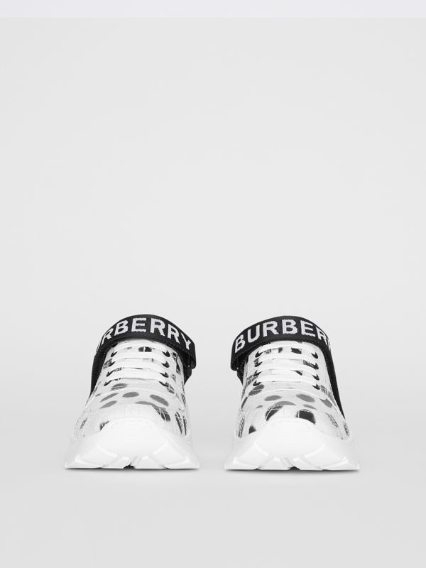 Animal Print Leather Sneakers in Off White - Women | Burberry - cell image 3