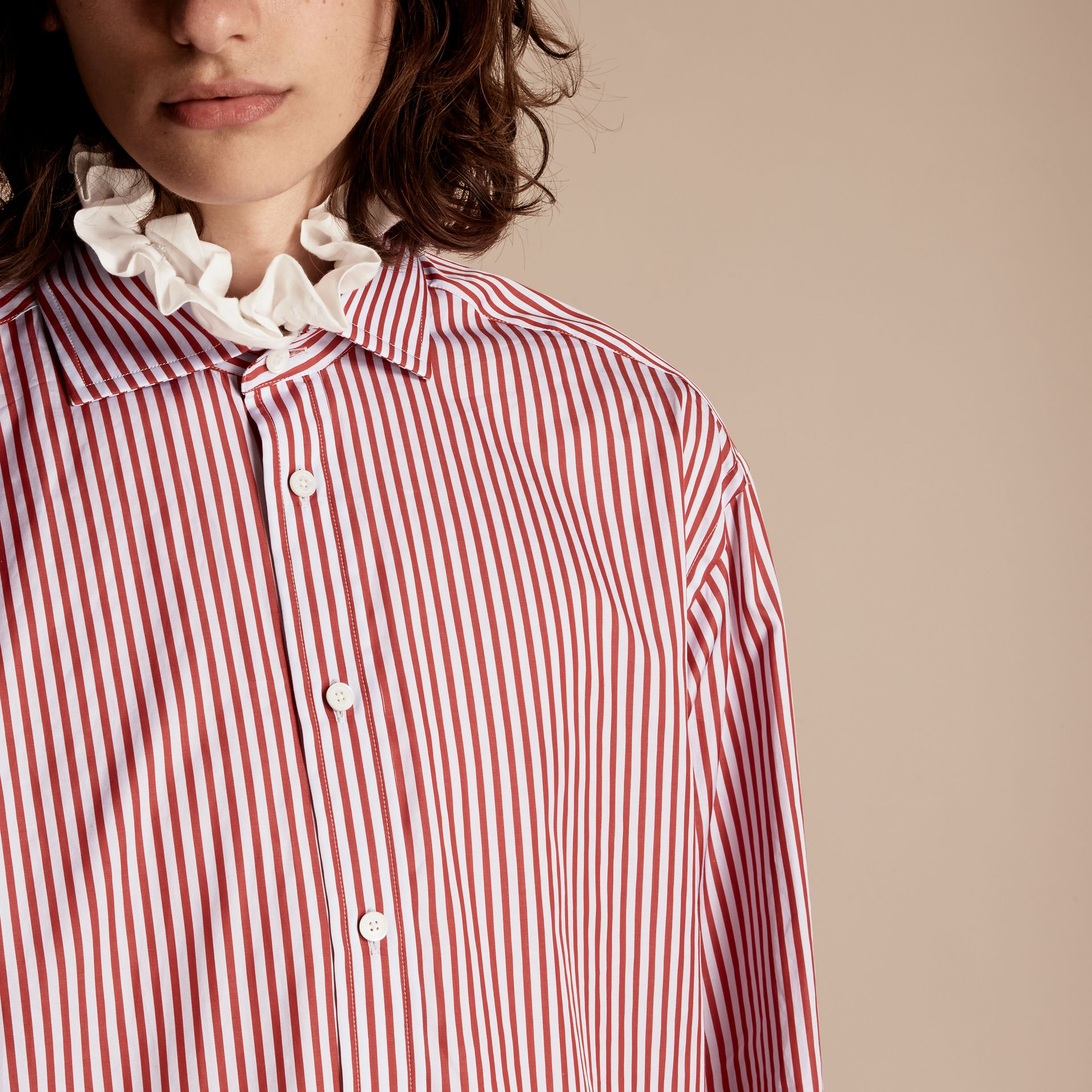 Cardinal red Ruff Collar Striped Cotton Shirt - gallery image 5