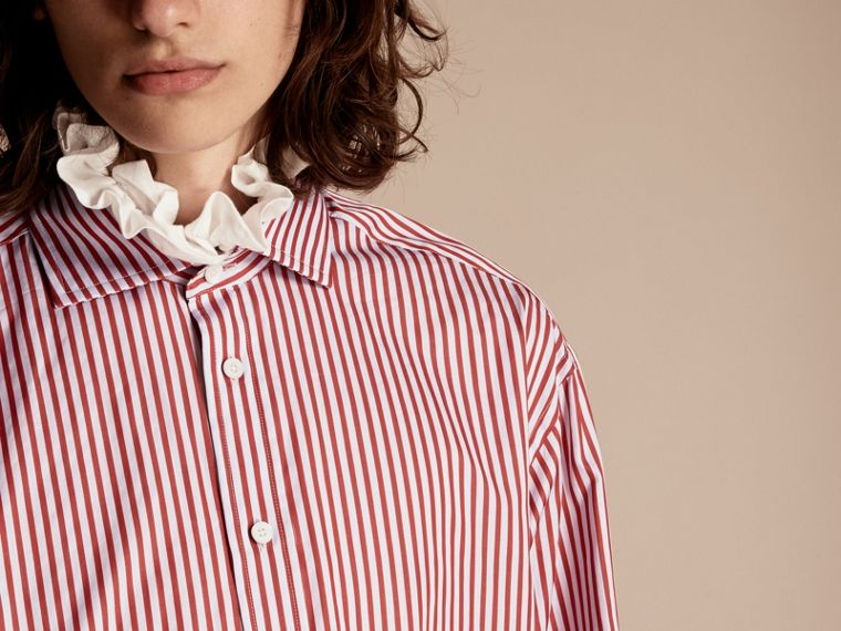 Cardinal red Ruff Collar Striped Cotton Shirt - cell image 4