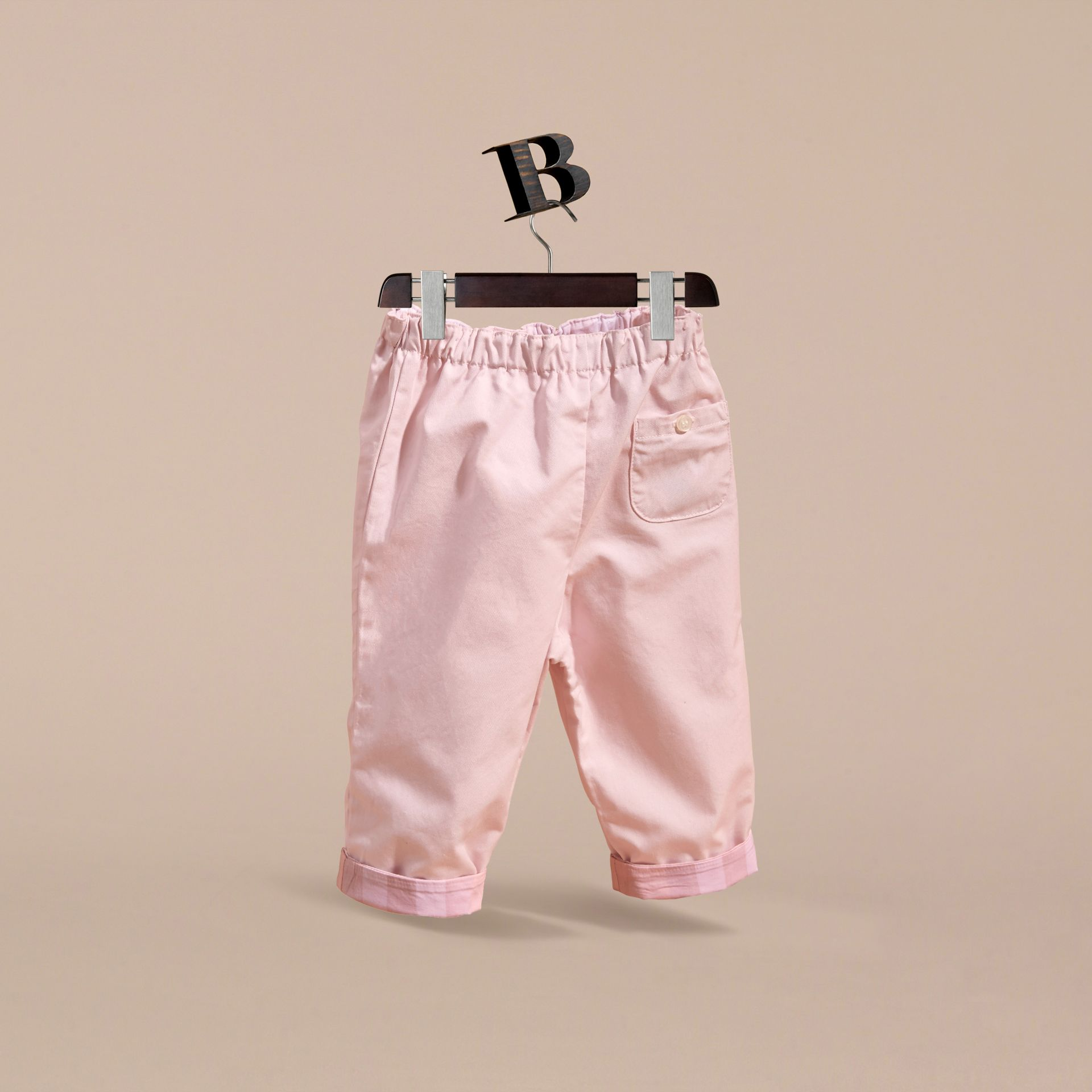 Check Turn-Up Cotton Trousers in Ice Pink | Burberry - gallery image 4