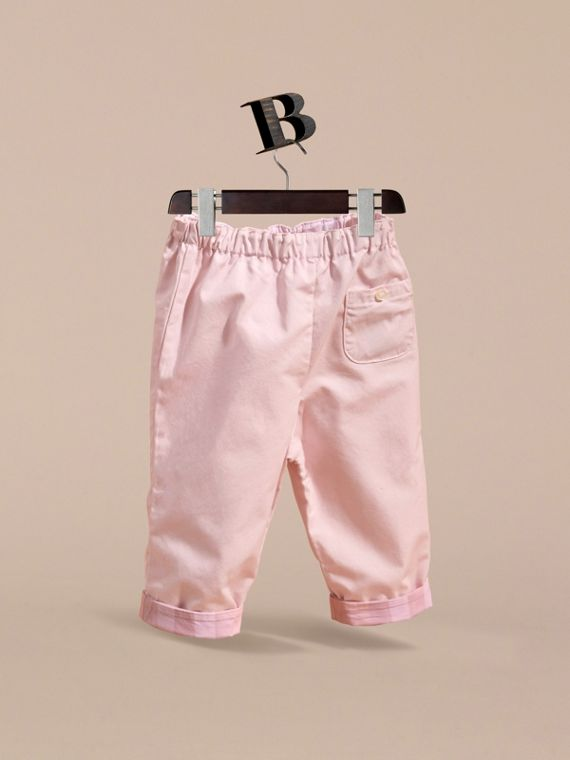 Check Turn-Up Cotton Trousers in Ice Pink | Burberry - cell image 3
