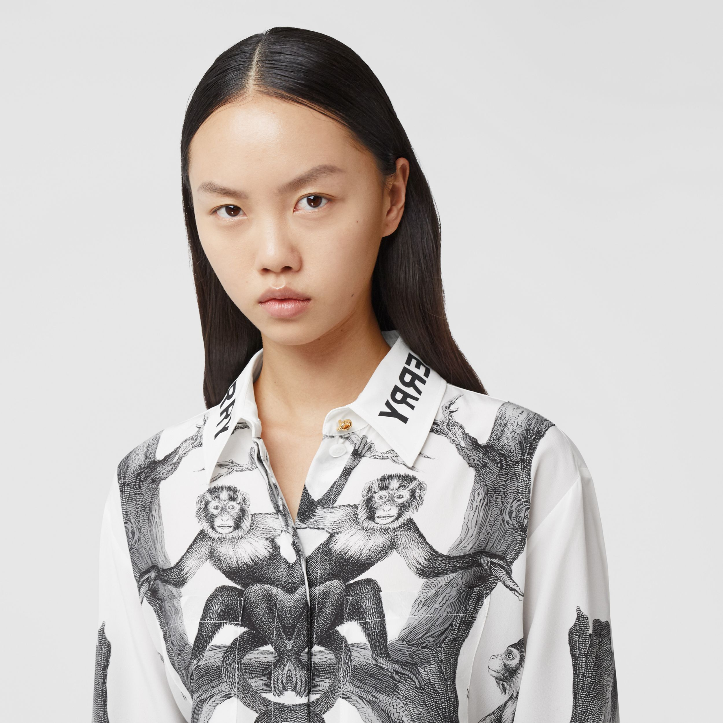 Montage Print Silk Shirt in Monochrome - Women | Burberry - 2