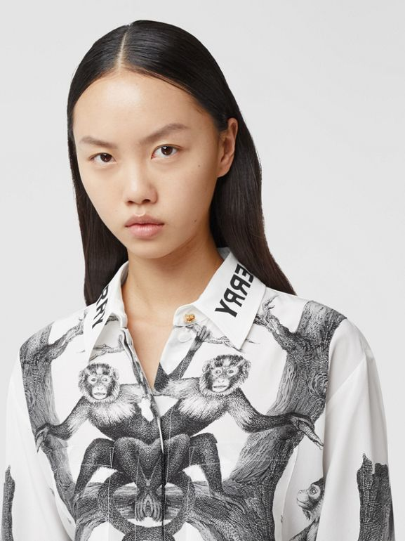 Montage Print Silk Shirt in Monochrome | Burberry - cell image 1