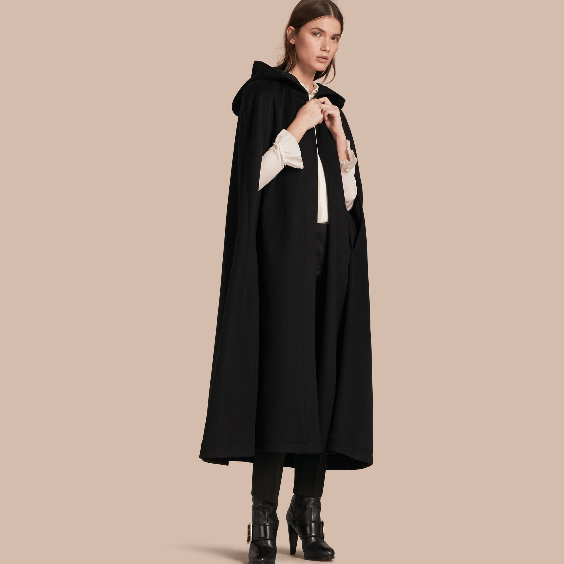 Black Hooded Wool Cashmere Cape - gallery image 1