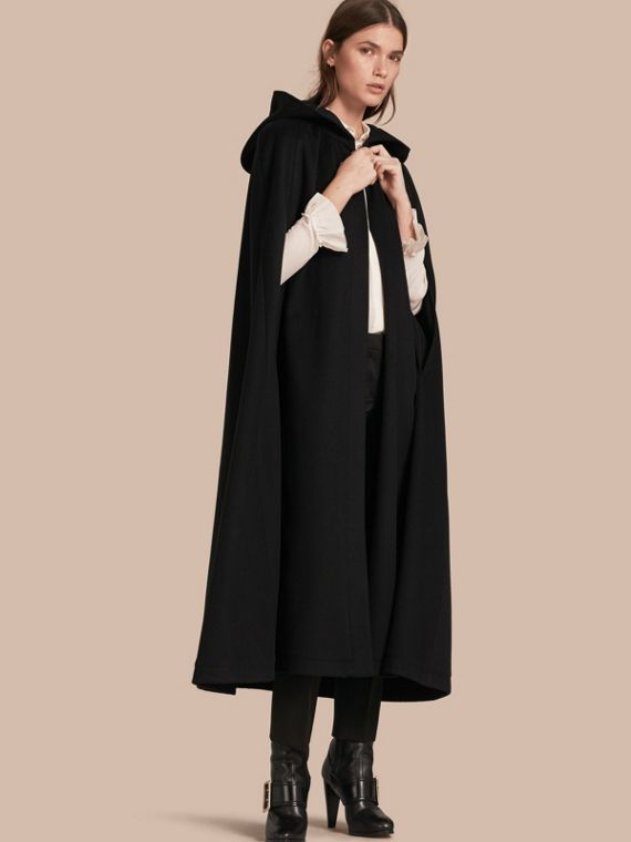 Hooded Wool Cashmere Cape