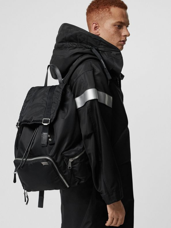 The Extra Large Rucksack in Aviator Nylon in Black