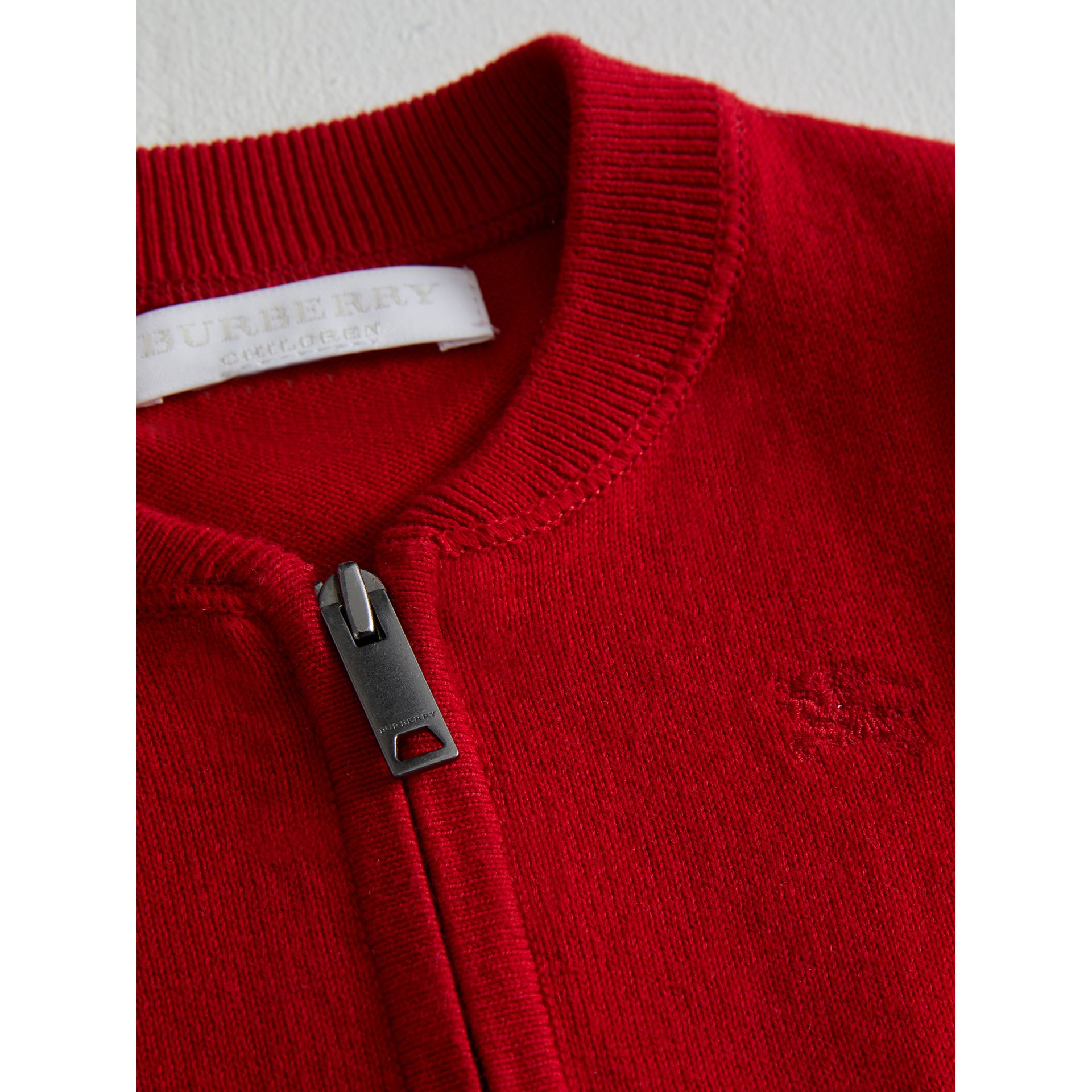 Check Detail Cotton Cardigan in Military Red | Burberry Australia - gallery image 1