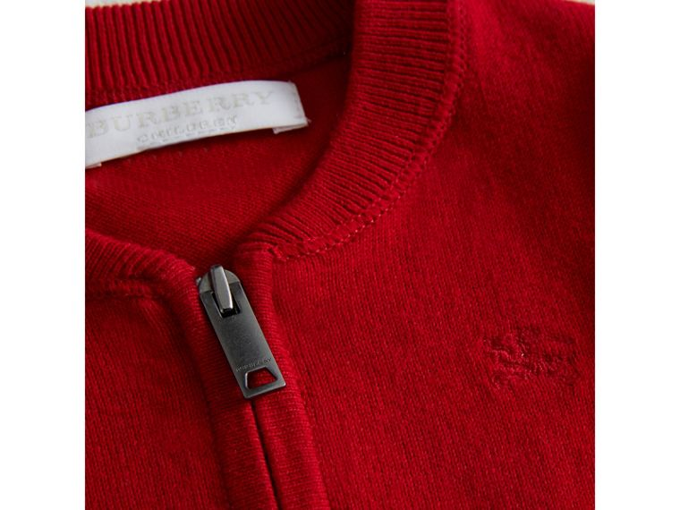 Check Detail Cotton Cardigan in Military Red | Burberry - cell image 1