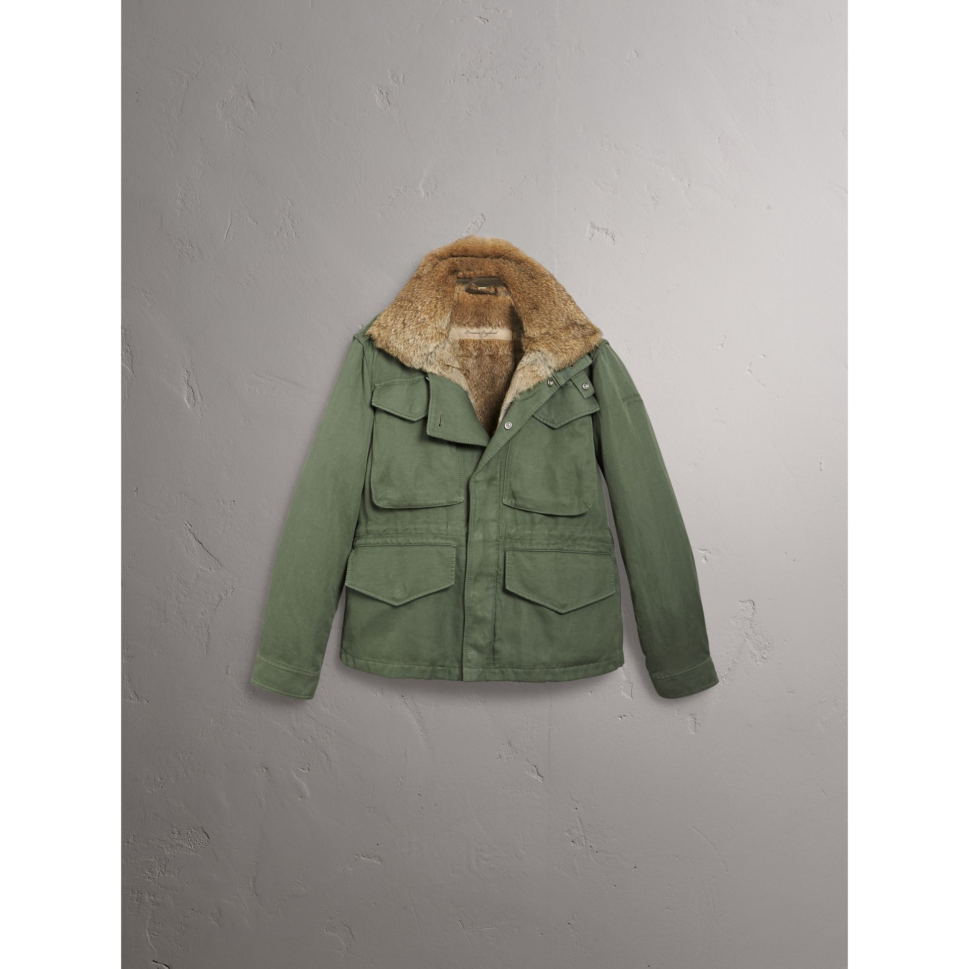 Packaway Hood Cotton Field Jacket with Fur Warmer in Slate Green - Men | Burberry United Kingdom - gallery image 3