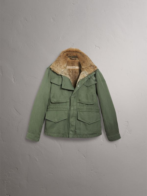 Packaway Hood Cotton Field Jacket with Fur Warmer in Slate Green - Men | Burberry - cell image 3