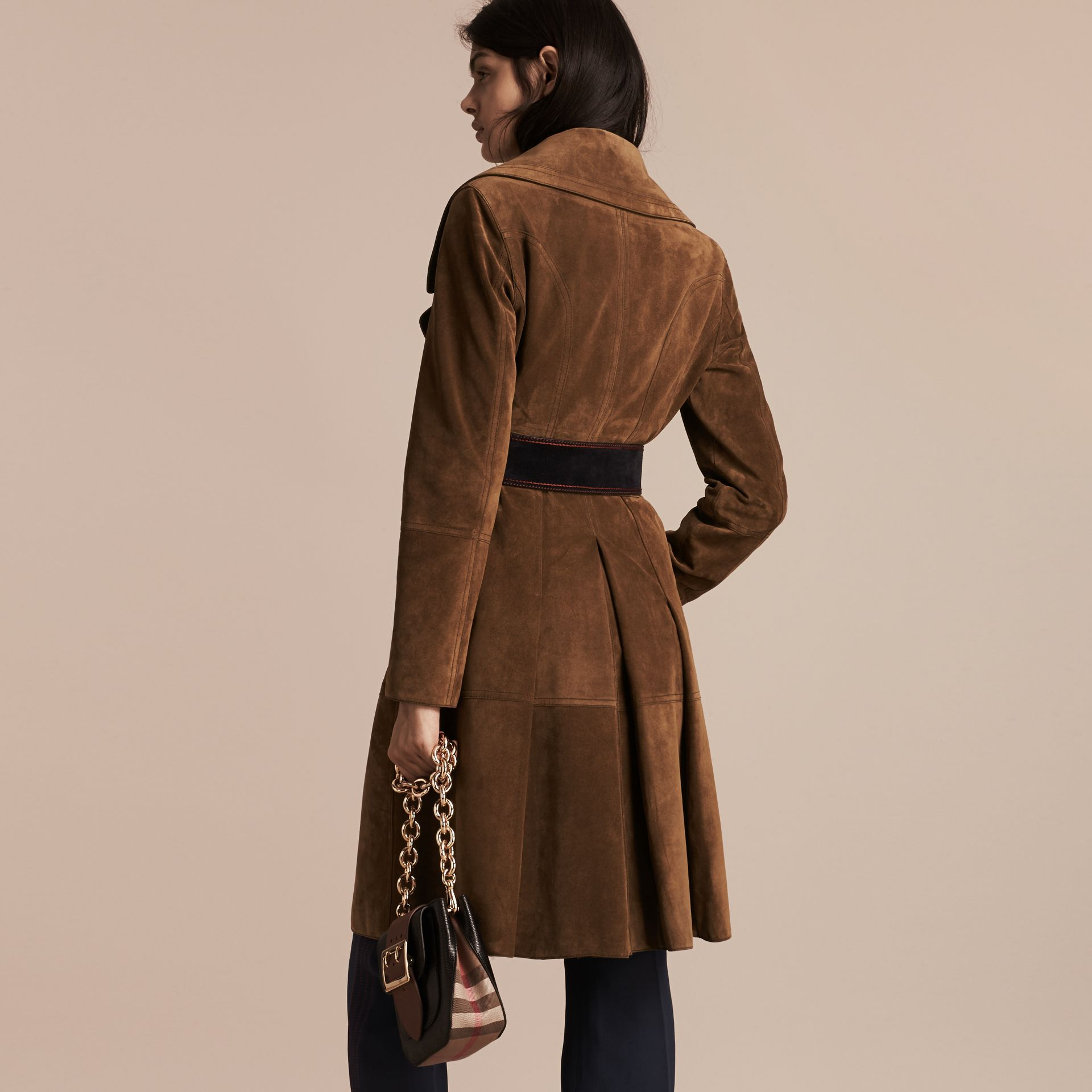 Charcoal brown Double-breasted Suede Coat - gallery image 3