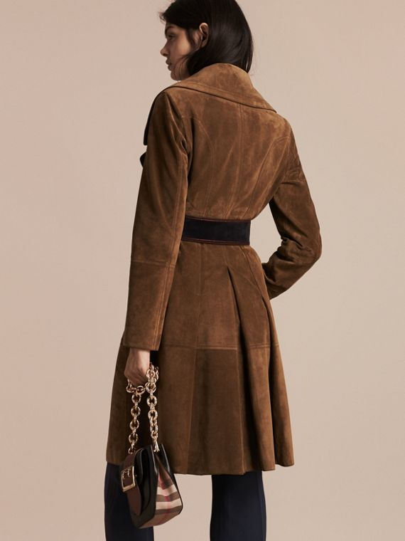 Charcoal brown Double-breasted Suede Coat - cell image 2