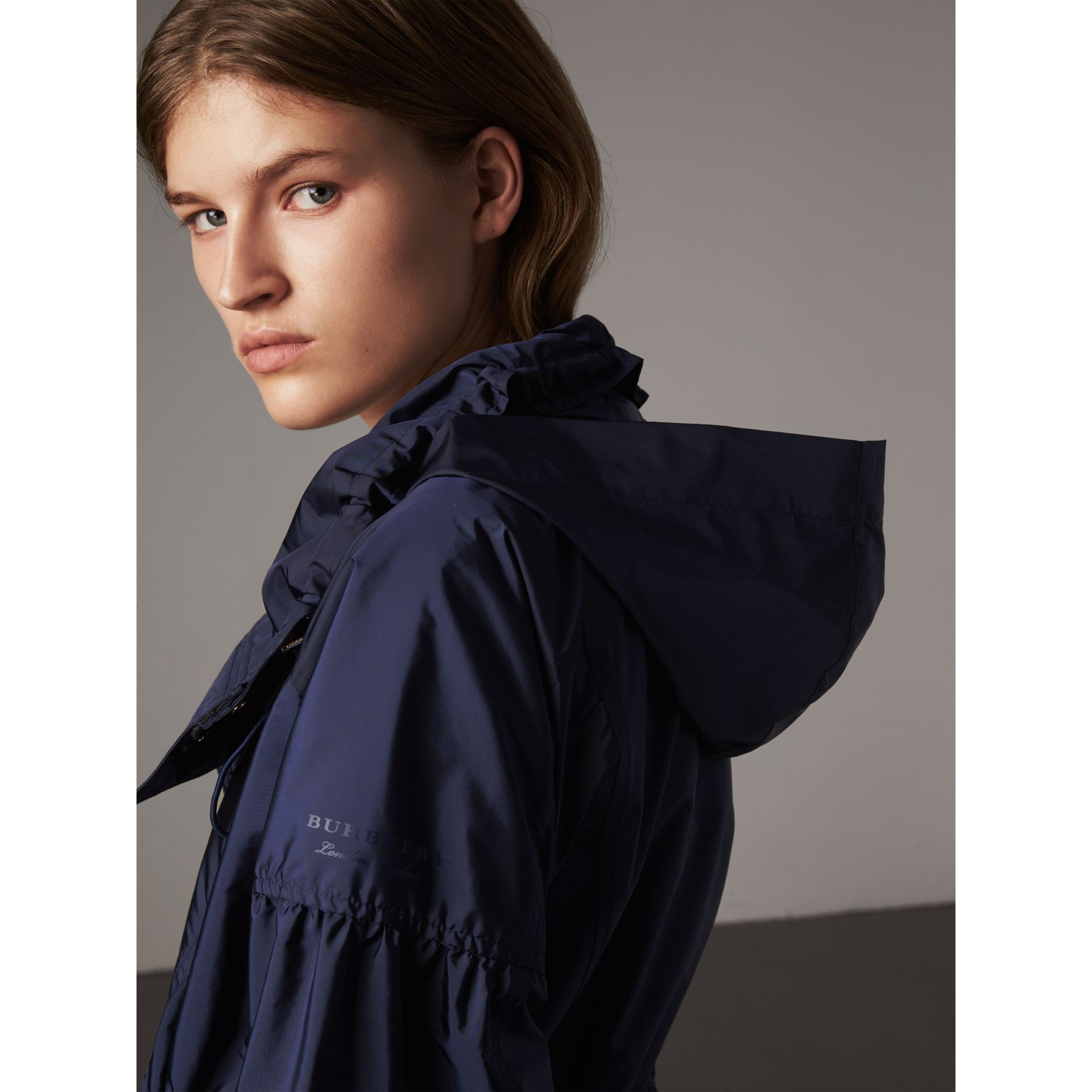 Packaway Hood Lightweight Rain Jacket in Bright Navy - Women | Burberry Canada - gallery image 2