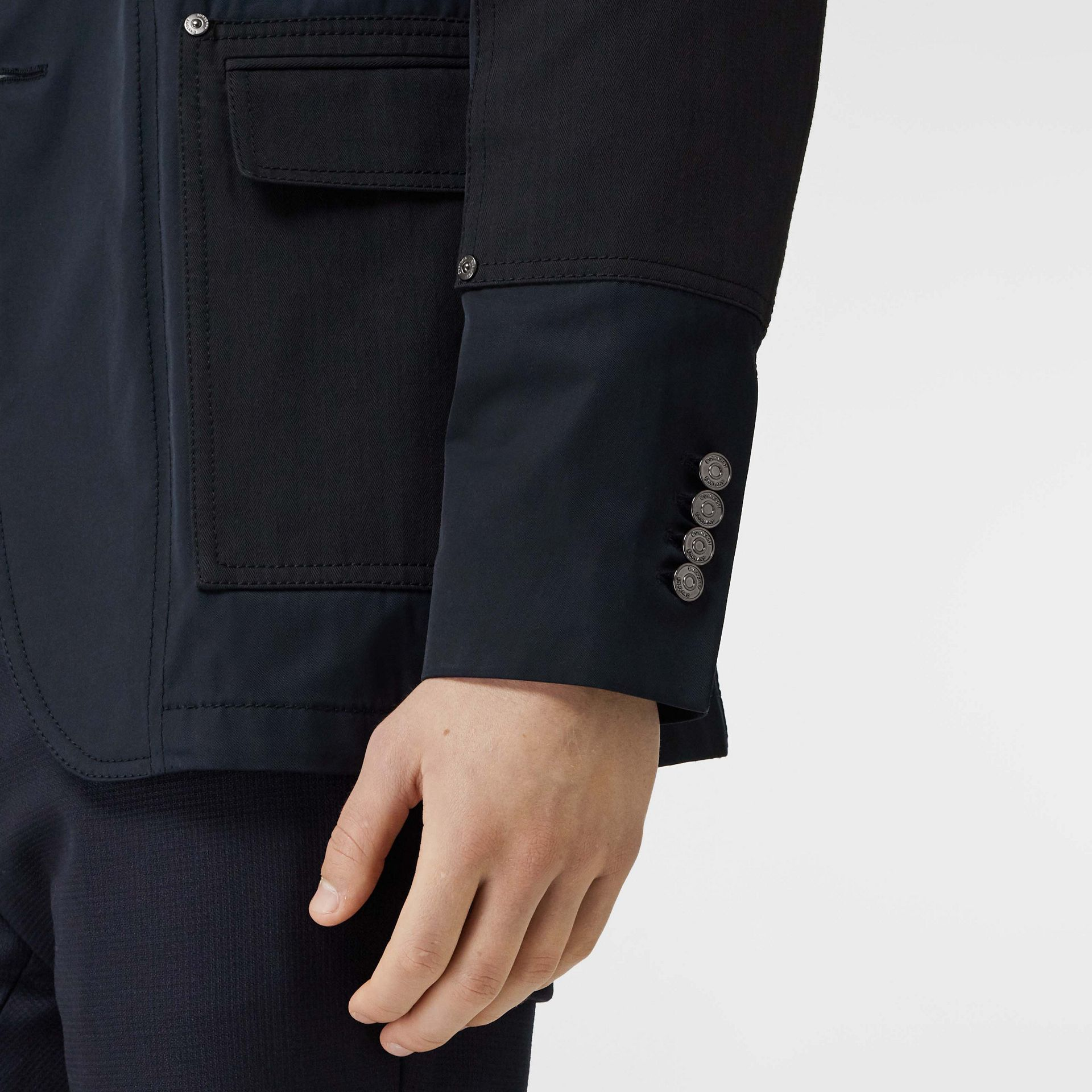 Herringbone Patch Detail Cotton Twill Blend Jacket in Navy - Men | Burberry - gallery image 4