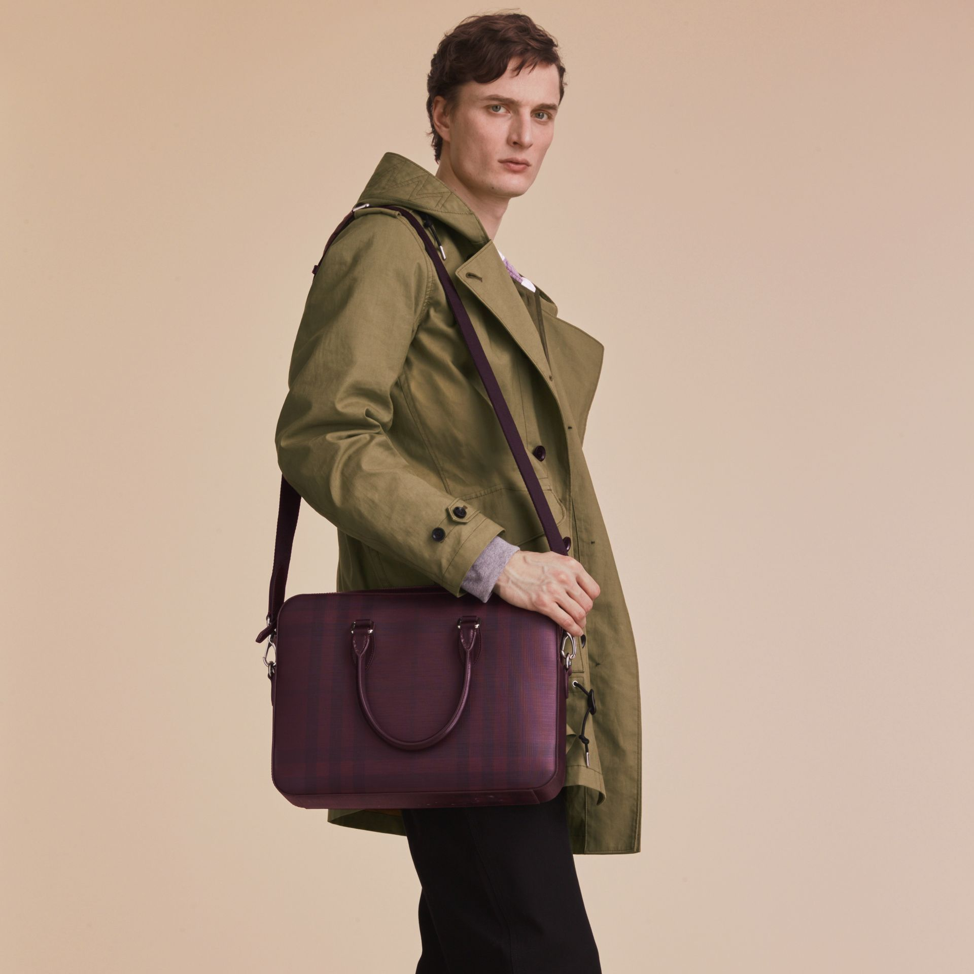 Medium Leather Trim London Check Briefcase in Deep Claret - Men | Burberry Singapore - gallery image 3