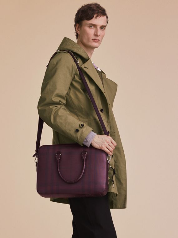 Medium Leather Trim London Check Briefcase in Deep Claret - Men | Burberry Singapore - cell image 2