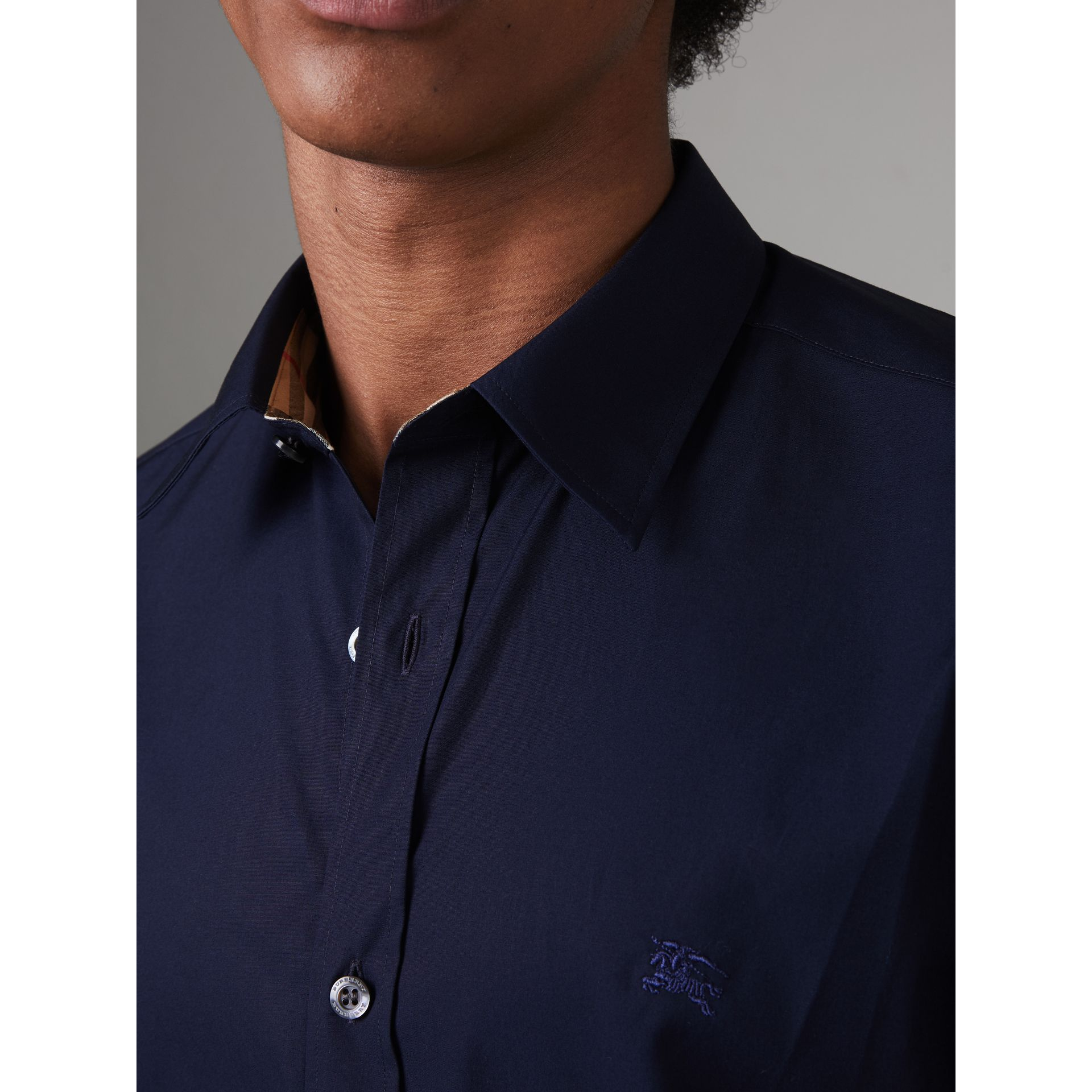 Check Cuff Stretch Cotton Poplin Shirt in Navy - Men | Burberry United Kingdom - gallery image 1