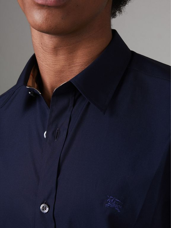 Check Cuff Stretch Cotton Poplin Shirt in Navy - Men | Burberry - cell image 1