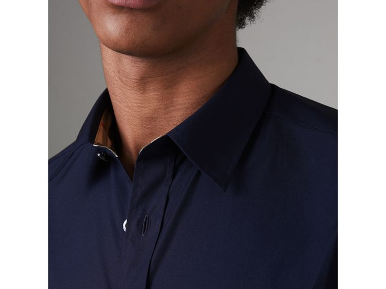 Check Cuff Stretch Cotton Poplin Shirt in Navy - Men | Burberry United Kingdom - cell image 1