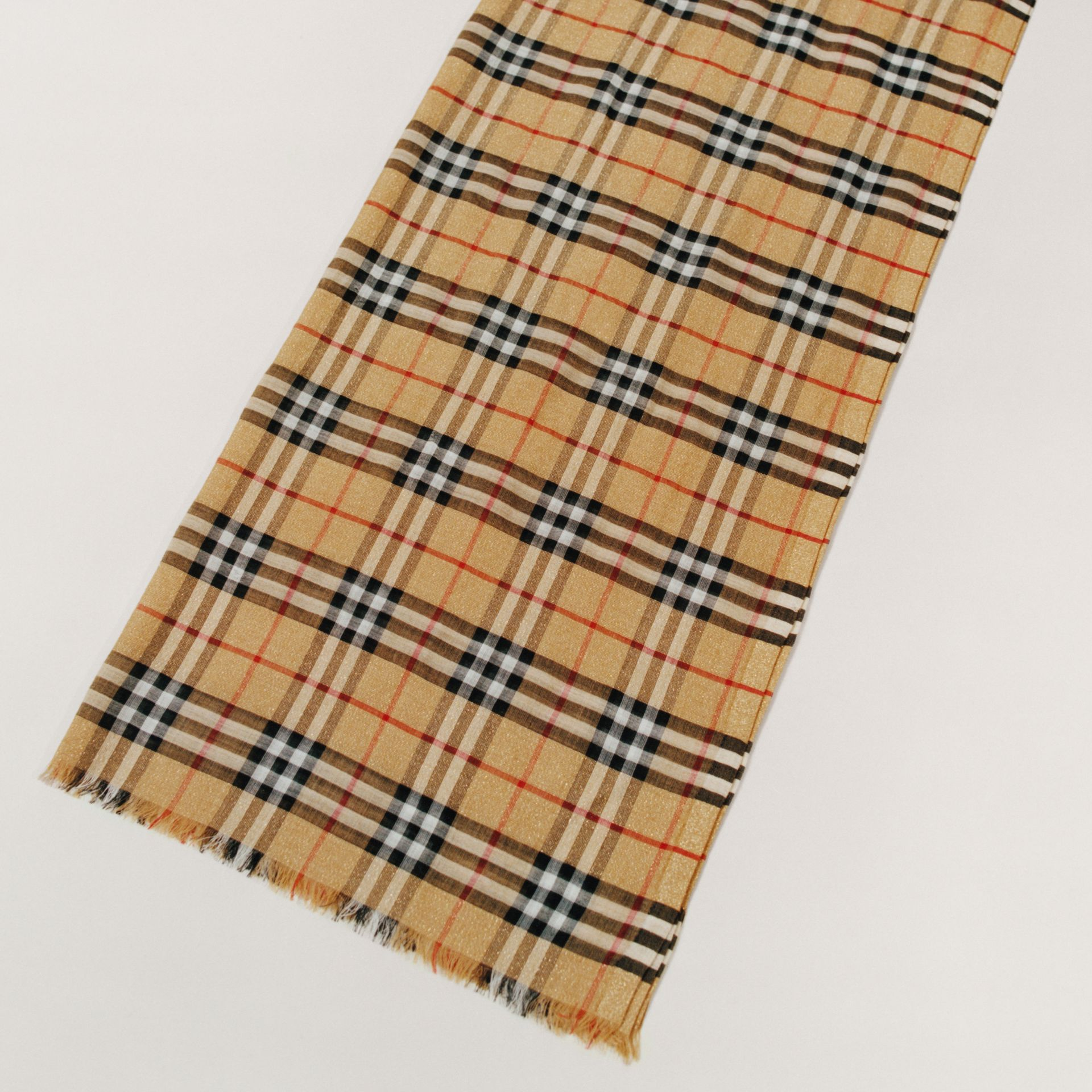 Metallic Vintage Check Wool Silk Blend Scarf in Antique Yellow - Women | Burberry United Kingdom - gallery image 1