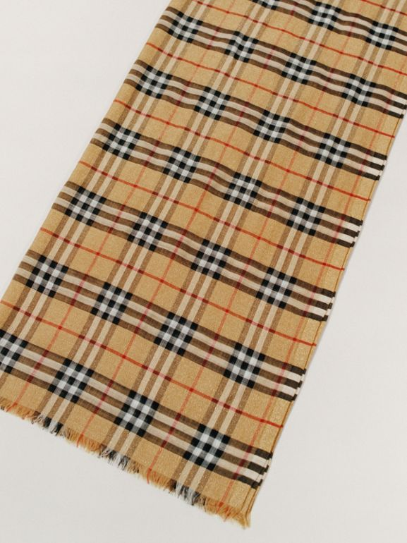 Metallic Vintage Check Wool Silk Blend Scarf in Antique Yellow - Women | Burberry United Kingdom - cell image 1