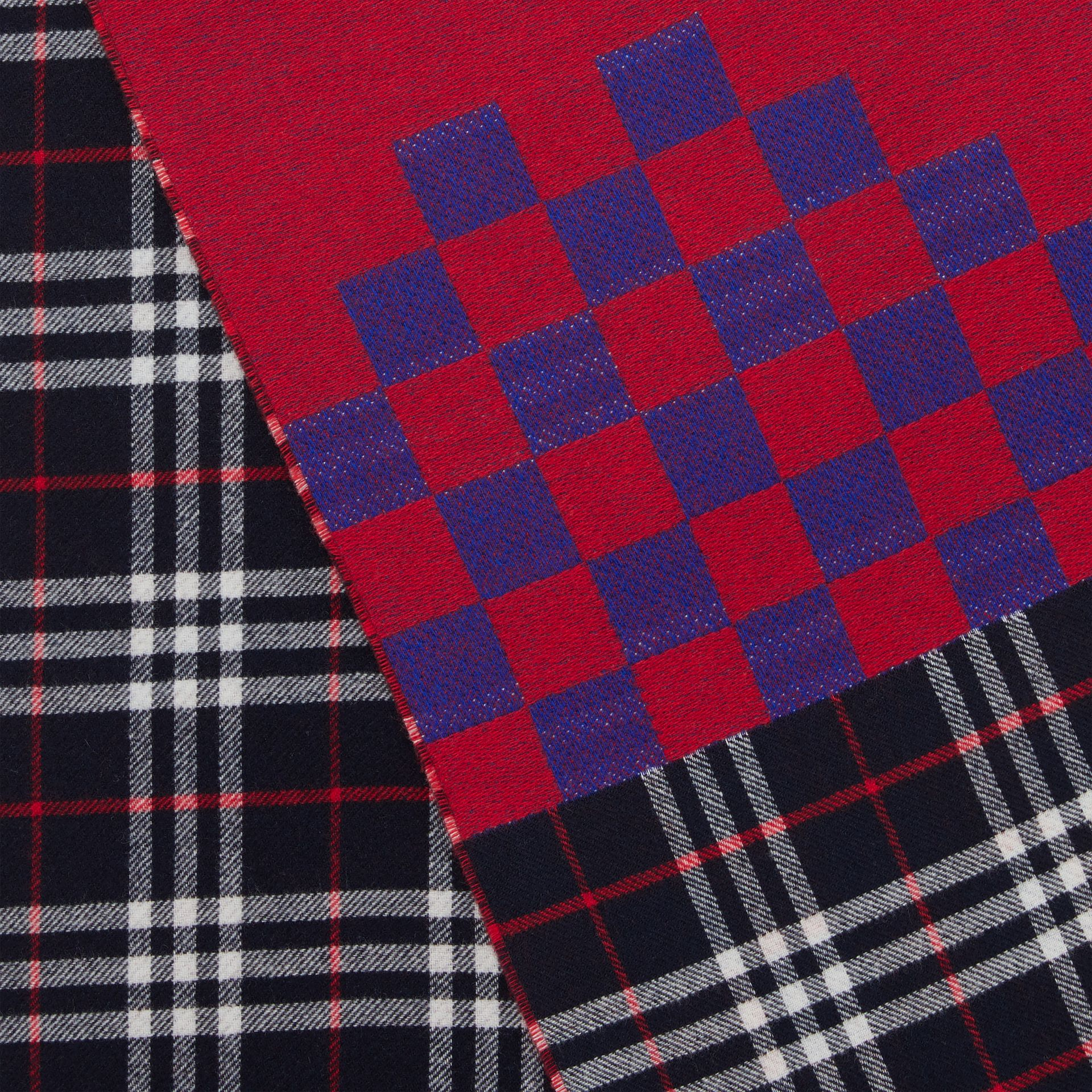 Reversible Graphic and Check Wool Cashmere Scarf in Navy | Burberry - gallery image 1