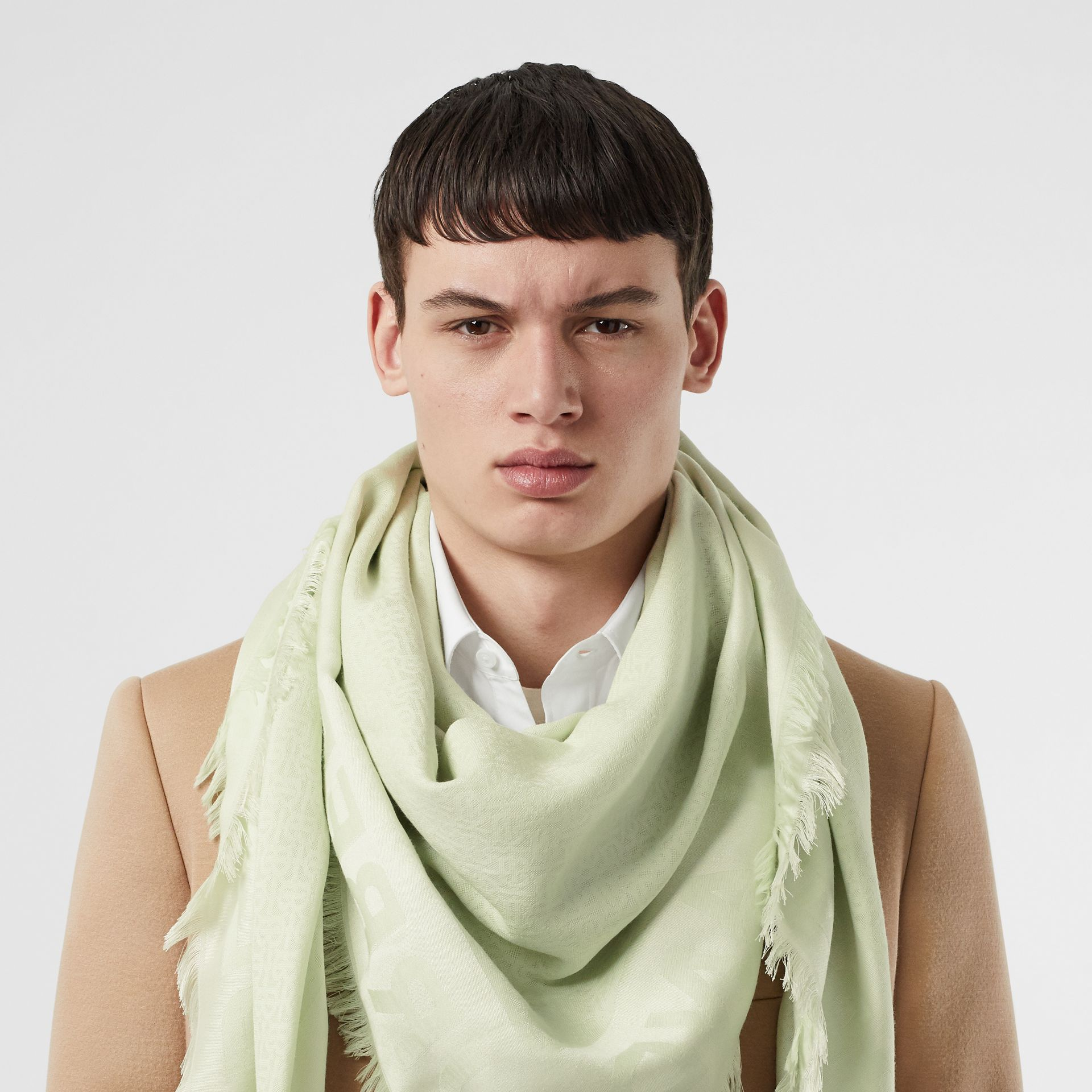 Monogram Silk Wool Jacquard Large Square Scarf in Pistachio | Burberry - gallery image 3